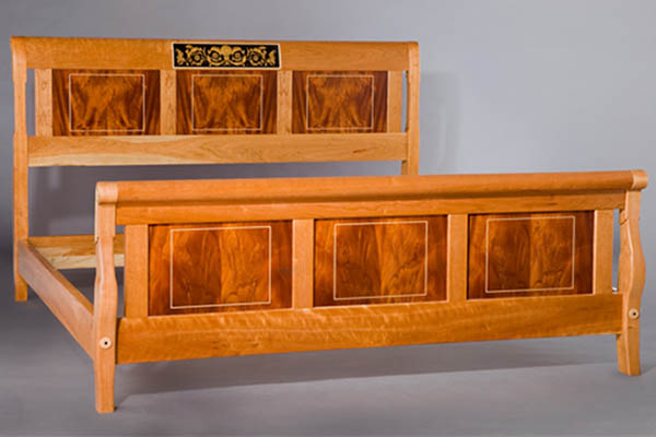 I've Arrived King bed: curly cherry, crotch mahogany, ebony and satin wood marquetry and maple inlay 78″w x 89″l x 48″ h