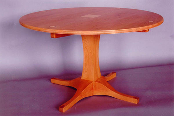 Solid Cherry Table; Itu0027s Got Legs! Curly Maple And Bubinga Inlays 52u2033  Diameter