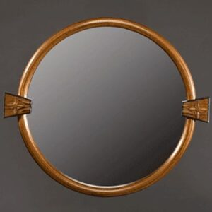 Circular mirror: Laminated black walnut frame, hand carved blocks, bog oak. 14″ outside diameter