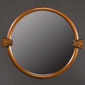 Circular mirror: Laminated black walnut frame, hand carved blocks, bog oak. 14″ outside diameter