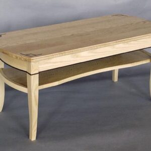 Curly ash coffee table: Ebony inlay, bent laminated white ash, black walnut detail. 42″ l x 17 1/2″ w x 18 1/2″ h