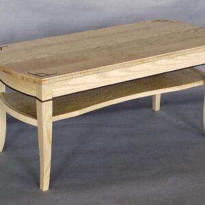Curly ash coffee table: Ebony inlay, bent laminated white ash, black walnut detail. 42″ l x 17 1/2″ w x 18 1/2″ h