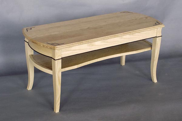 Curly Ash Coffee Table: Ebony Inlay, Bent Laminated White Ash, Black Walnut  Detail