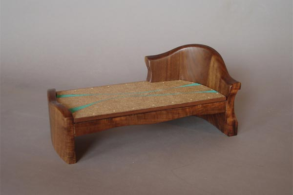 Daybed model.  Carved black walnut, painting by Leah Hughes. Cattail fluff paper by Amie Combs