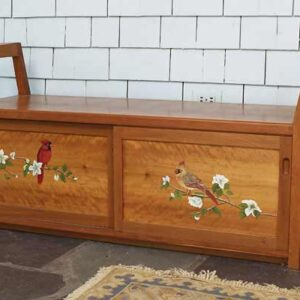 Entryway boot bench: Cherry with hand painted birds 52″ w x 24″ h x 17″ d