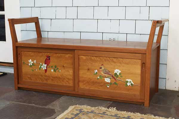Entryway Boot Bench: Cherry With Hand Painted Birds 52u2033 W X 24u2033 H X 17