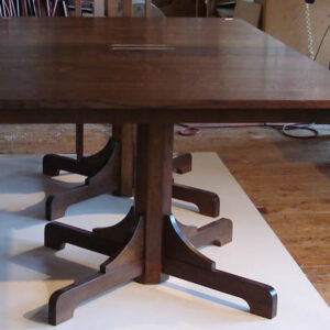 Extension dining table: Stained quartersawn white oak with holly and ebony inlay. Seats up to 12 76-110″ l x 48″ w x 30″ h