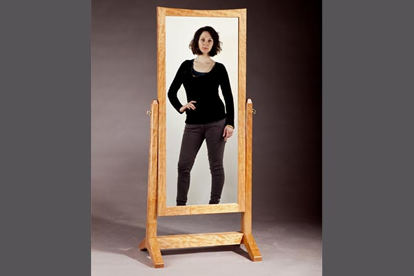 Cheval Mirror: Quartersawn cherry 62″h x 22″w x 17″d