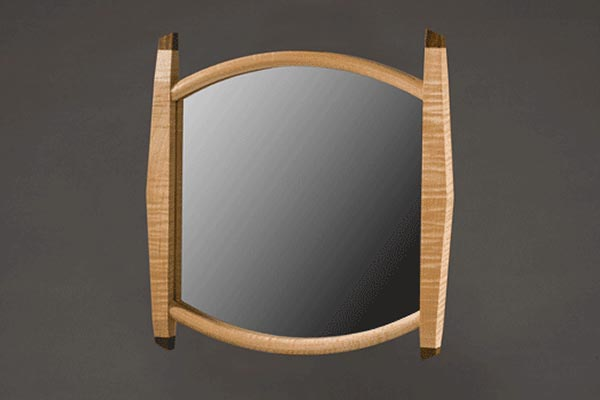 Josie's view mirror: Curly maple, bubinga finials. 15.5″h x 14″w