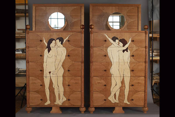 Marquetry bureaus: Stylized marquetry figures and parquetry drawer fronts. Cherry, pearwood, bubinga, rosewood, maple, wenge, pau ferro. Collaborative design by Bill Hewitt, Silas Kopf and customer. 80″ h x 40″ w x 20″ d