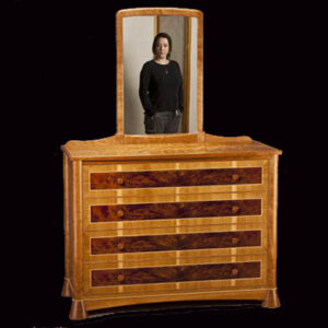 with bench and jewelry boxes Crotch mahogany, curly cherry, pearwood and ebony handles. 52″w x 52″h x 20 1/2″d