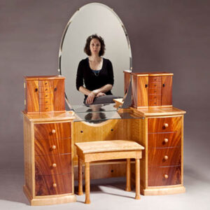 Look at me vanity: with bench and jewelry boxes Crotch mahogany, curly cherry, pearwood and ebony handles. 52″w x 52″h x 20 1/2″d