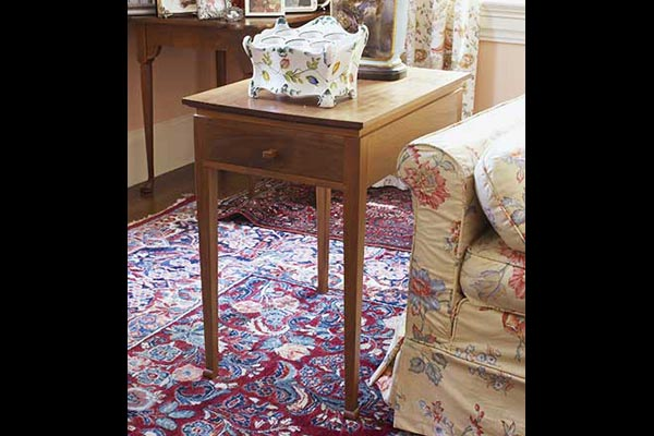 Sofa end table: Black walnut and pauamerolo 18″ w x 24″ h x 20″ d