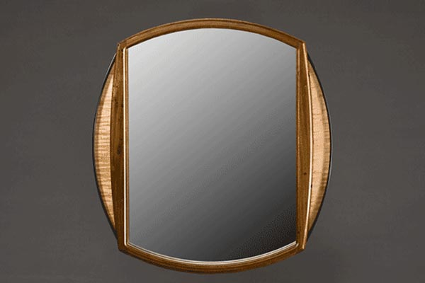 Wedding mirror: Black walnut, curly maple, ebony laminated curves. 17″h x 15″w