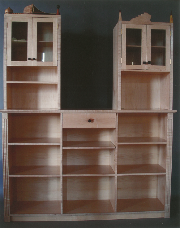 Built-in Bookshelf: Curly maple Macassar ebony pearwood and quilted maple